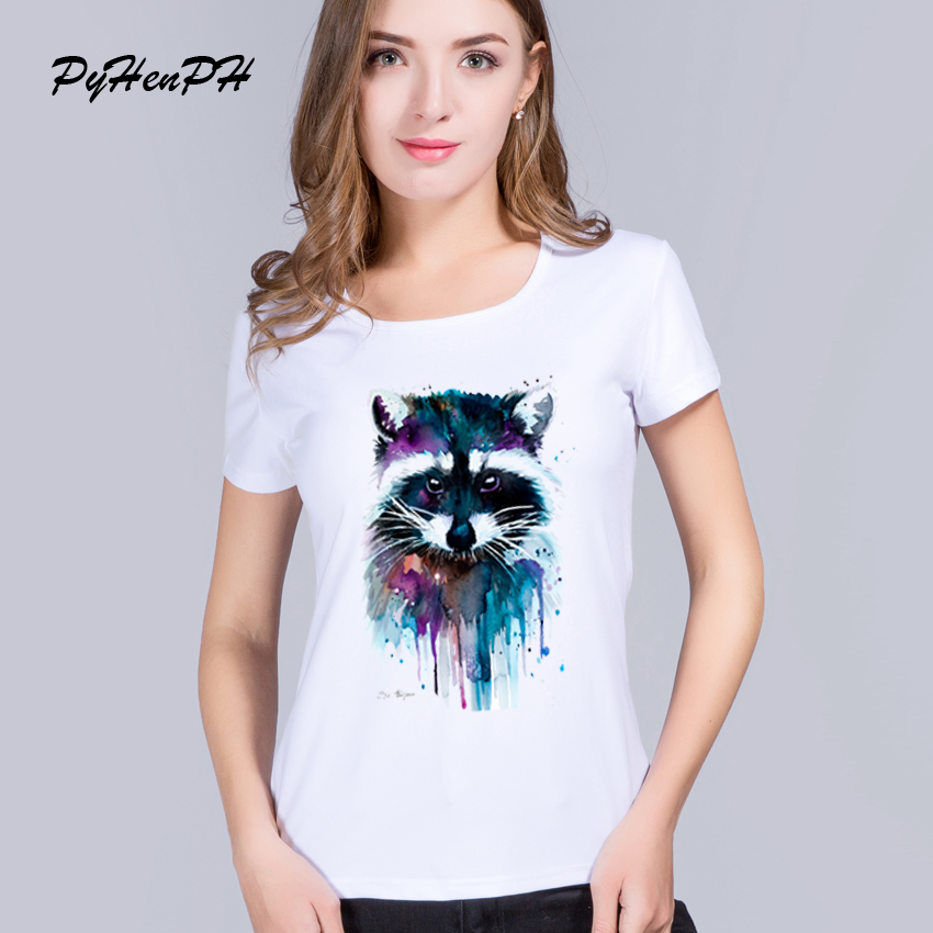 HTB1nZmBRXXXXXbBapXXq6xXFXXXT - T shirt for women Raccoon O-neck short sleeved