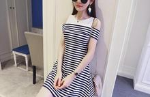 Front Vertical Stripe Dress Spaghetti Strap Off Shoulder Knee Length Dresses Women Summer Casual