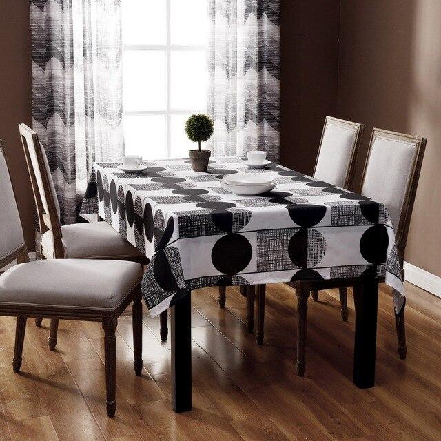 imprimés sans fin table rectangulaire tissu noir et blanc rayé