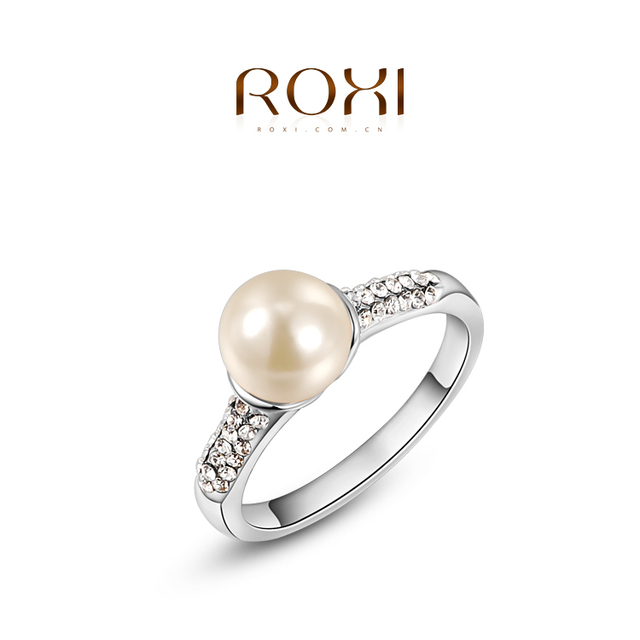 ROXI Brand Fashion Crystal Pearl Women Rings Elegant Wedding Engagement Ring Party Jewelry Bagues Femme