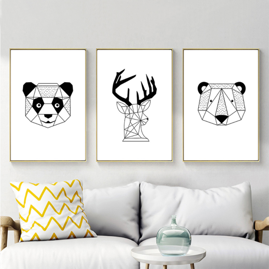 Black And White Paintings For Bedroom Bedroom Sets Black Modern Bedroom Black Bedroom Furniture Sets Pictures: Black And White Cartoon Animals Canvas Paintings Nordic