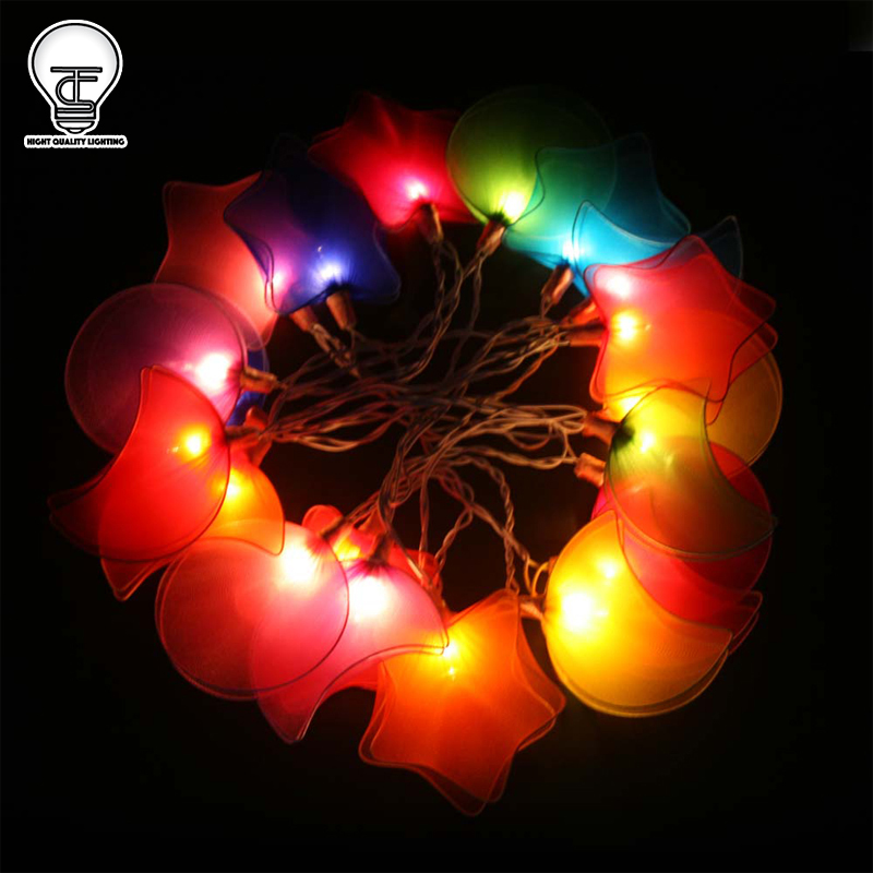 GaiaShine Nylon Fabric Star Moon String Fairy Night Lights Kids Room Lamps