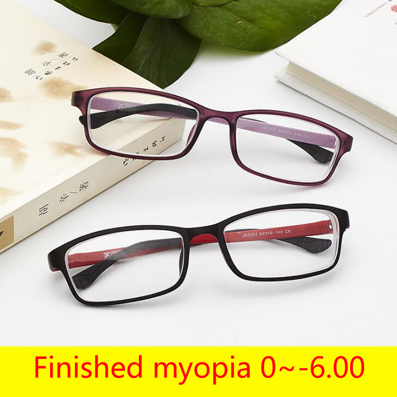 -1 -1.5 -2 -2.5 To -6.0 Ultralight TR90 Finished Myopia Glasses For Unisex Short-sight Eyewear Full Frame Glasses With Degree