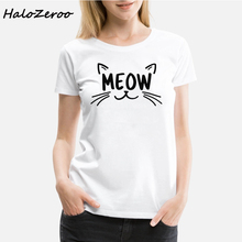 Cute Cat MEOW Graphic Print Women T Shirt Casual Lover Funny Gift Tshirt Cats Make Me Happy Dad Aesthetic Womens Clothing