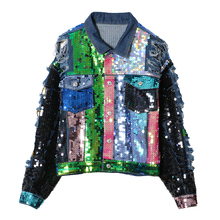 spring autumn women jean jacket 2017 tide brand colorful sequins alphabet graffiti holes denim jacket coat
