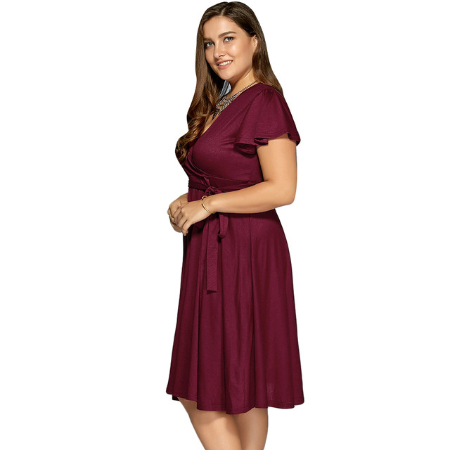 e87b0b43a5ea6 Kenancy Low Cut A Line Plus Size 3XL~9XL Swing Women Vintage Dress ...