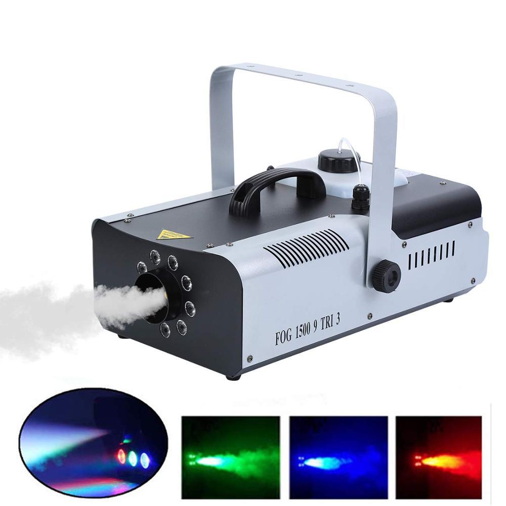 1500W Fog Machine Smoke Machine 9 LED RGB Wireless Remote DMX Controlfor For Stage Wedding Disco DJ Bar Party