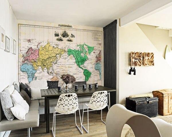 Woonkamer Met Wereldkaart : Retro behang wereldkaart muurschilderingen voor kinderen