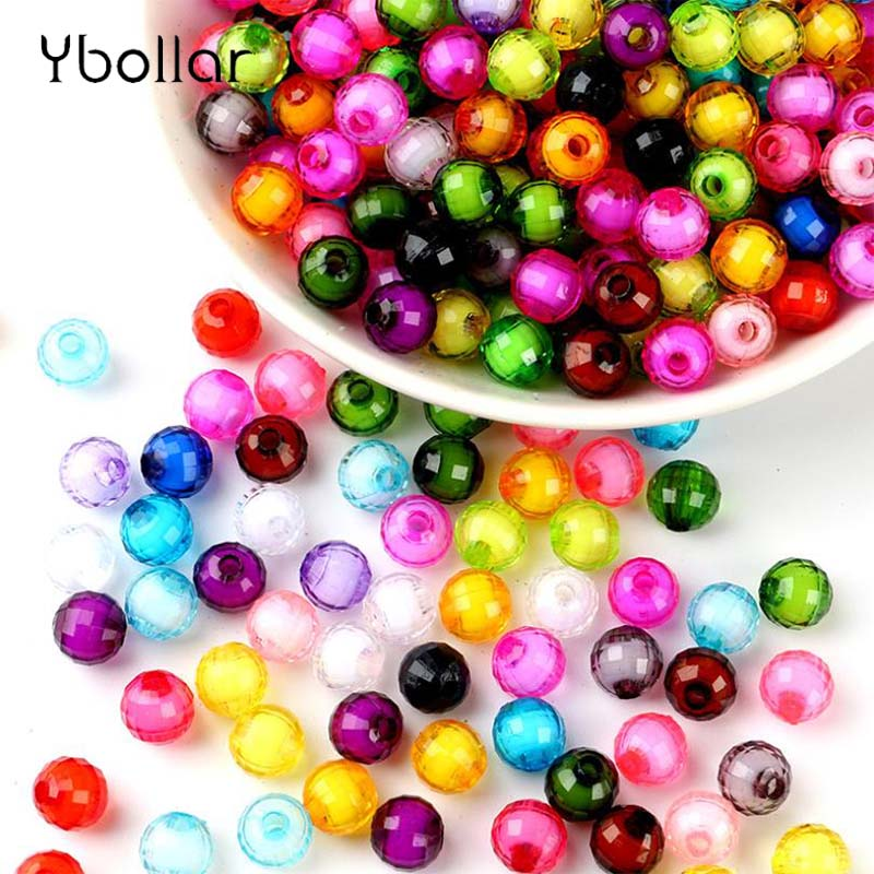 100pcs pack 8mm 10mm Earth Faceted Acrylic Loose Spacer Round Beads For Bracelet Necklace Jewelry Making DIY Craft in Beads from Jewelry Accessories