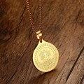 Avalokiteshvara Estátua Mprainbow Mens Colares de Aço Inoxidável Pingente Colar Golde Índia Jóias Medalhão Collectible