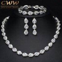 CWWZircons Chất Lượng Cao 3 Piece Phi Ấn Độ Bridal Wedding Trang Phục Đồ Trang Sức Cho Phụ Nữ Sang Trọng Zirconia Jewelry Sets T134