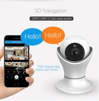 SmartYIBA 1080P 2MP Wifi Camera 3D Panoramic Navigation Smart Security Camera Two Way Audio CCTV Camera+64G TF Home Surveillance