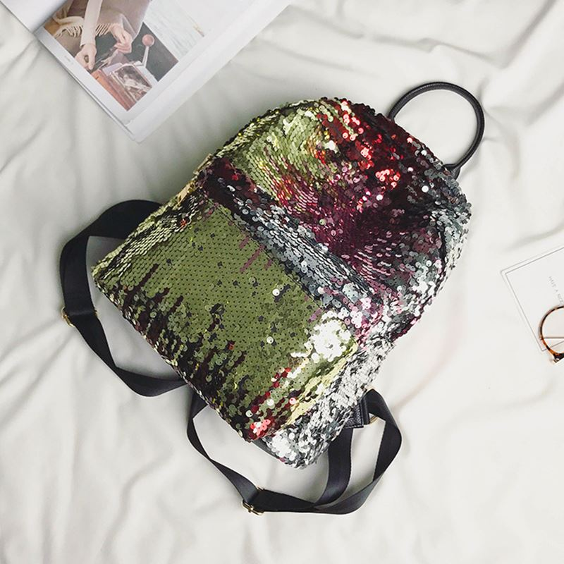 ETAILL Top Quality Girls Sequins Backpack Women Paillette Leisure Popular  School Book Bags PU Leather Small Glitter Bling Bag-in Backpacks from  Luggage ... e0b469fbe58e2