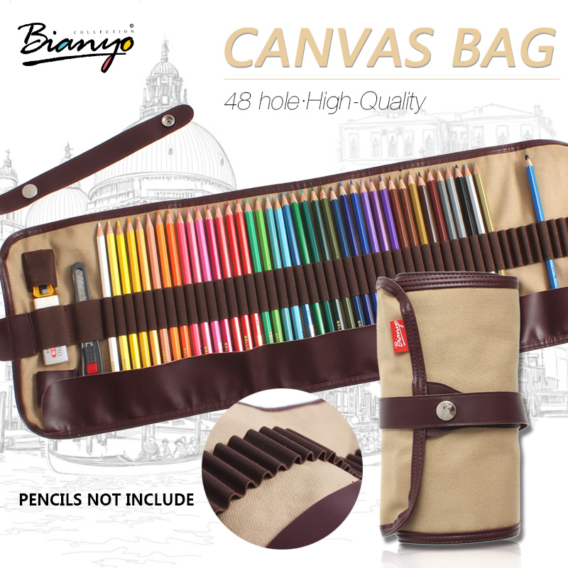 Bianyo 48 Hole Durable Canvas Pencil Case Pencil Bag Set For Sketch Color Pencil Pouch Storage Stationery School Crafts Supplies good quality 36 48 72 holes canvas pencil case roll up sketch painting pen box school office pencil stationery bag b066