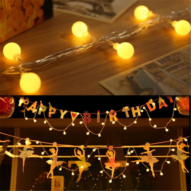 10M Ball Fairy Lights Battery Operated LED Christmas Light Outdoor Indoor String Garland For Tree Garden Bedroom Home Decoration