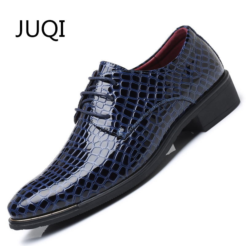 JUQI Flat-Shoes Loafers Plaid Men's Moccasins Bright-Leather Lace-Up Rubber for Extra
