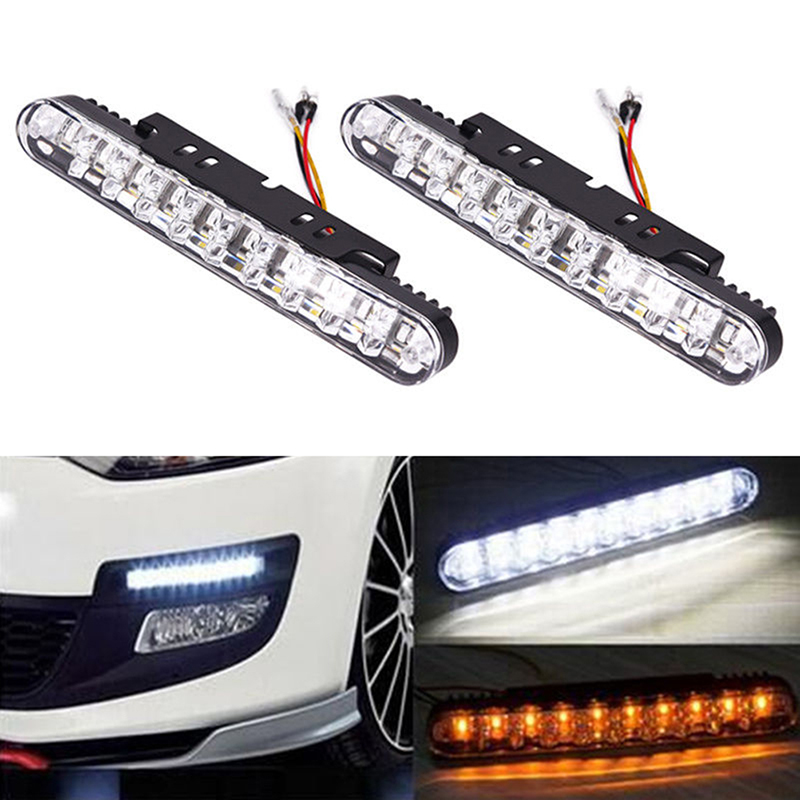 2pcs 12v 12w 30 Led Car Daytime Running Light Drl Daylight Lamp With Turn Lights Fog Light