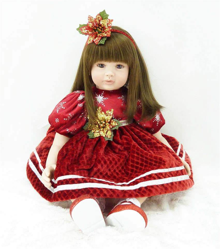 Pursue 24/ 60 cm Christmas Hat Vinyl Silicone Reborn Babies Toddler Princess Girl Doll Toys for Children Girl Birthday Gift Toy [mmmaww] christmas costume clothes for 18 45cm american girl doll santa sets with hat for alexander doll baby girl gift toy