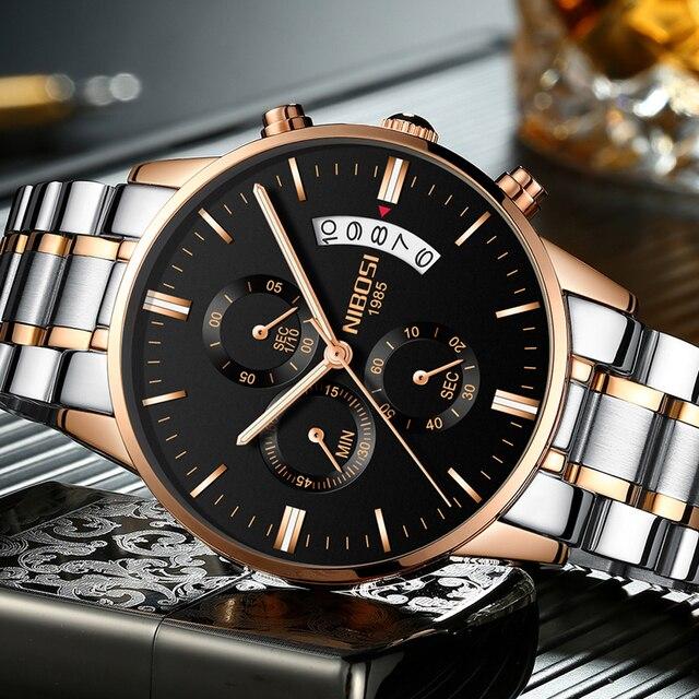 0e57978f8f4 NIBOSI À Prova D  Água Relógio Dos Homens Do Cronógrafo de Quartzo Relógio  Masculino Relógios