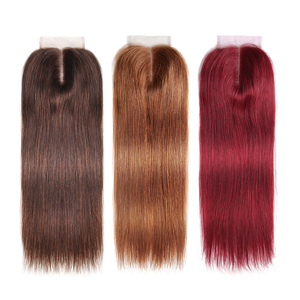 Image 2 - 99J/Burgundy Red Color Straight Human Hair Lace Closure 4x4inch Free/Middle Part X TRESS Brazilian Non Remy Swiss Lace Closure