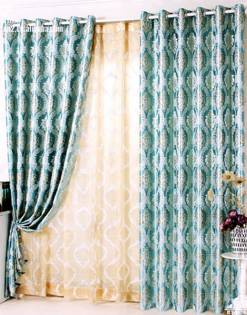 Yellow patterned curtains - Blakcout Shade Curtains For Living Room Luxury Curtain Blue Brown Yellowgrey Rural