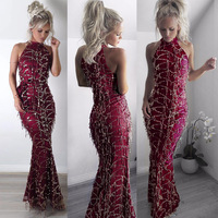 Sexy Wine Sequined Maxi Mermaid Dress Women Halter Neck Sleeveless Floor Length Long Party Dresses Robe De Soiree