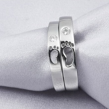 fashion baby feet design shiny zircon 30% percent silver plated unisex finger rings jewelry