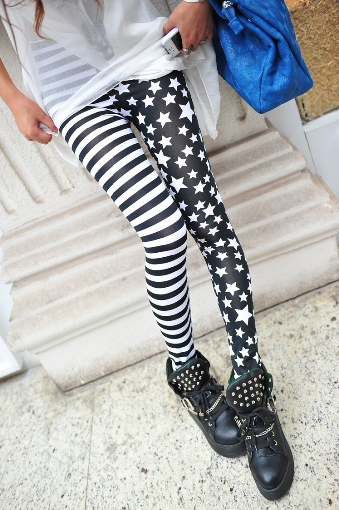 Leggings Hot Sell Womens Skull&flower Black Leggings Digital Print Pants Trousers Stretch Pants LG03