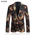 KCAE Blazer Masculino 2017 Nuevo de Alta Calidad de Terciopelo Impreso Blazer Hombres Trajes de Lujo de la Chaqueta Chaqueta Masculina Trajes de la Etapa Cantante de