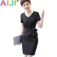 Spring Autumn Formal Dress Women OL Fashion Elegant Plus Size Work Slim O Neck Short Sleeve