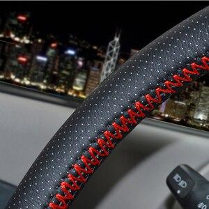 Image 2 - Osłona na kierownicę do samochodu 38cm 40CM ręcznie szyte DIY z mikrofibry osłona koła samochodu z igła i nić wyposażenie wnętrz