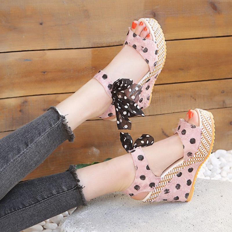 HTB1nZofXMaH3KVjSZFpq6zhKpXay Women Sandals Dot Bowknot Design Platform Wedge Female Casual High Increas Shoes Ladies Fashion Ankle Strap Open Toe Sandals