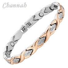 Channah 2017 Модный магнитный браслет из нержавеющей стали Joyas розовое золото joyeria хрустальные украшения женские браслет шарма