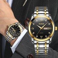 OLEVS 2018 New Business Men Watch Top Brand Luxury Steel Watchband Wristwatch Male Diamond Luminous Waterproof Quartz Watches