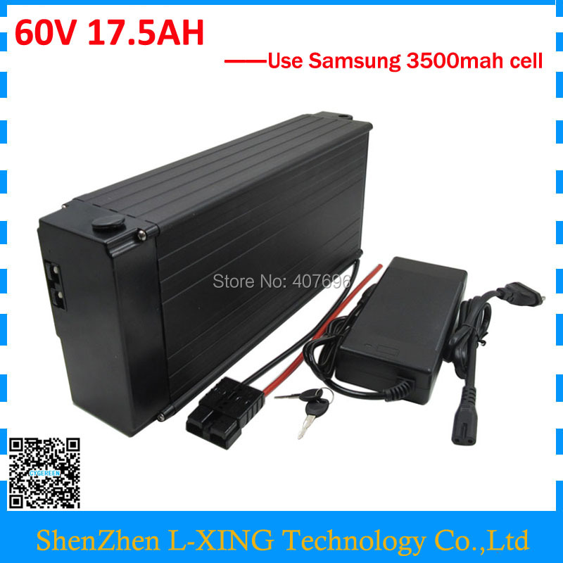 Free customs fee 60V 17.5AH lithium ion battery 60V electric bik battery 17AH use Samsung 3500mah cell 30A BMS with 2A Charger free customs taxes 48v 20ah 1000w li ion battery pack with 2a charger and 30a bms use for samsung cell lithium battery pack