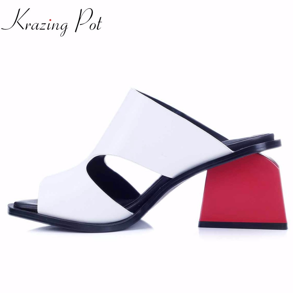 2018 New genuine leather square peep toe slip on fashion mules women sandals red high heels mixed colors summer causal shoes L23 elegant slip on wedges shoes women casual chunky heel summer red blue peep toe suede 2018 high heels mules platform sandals