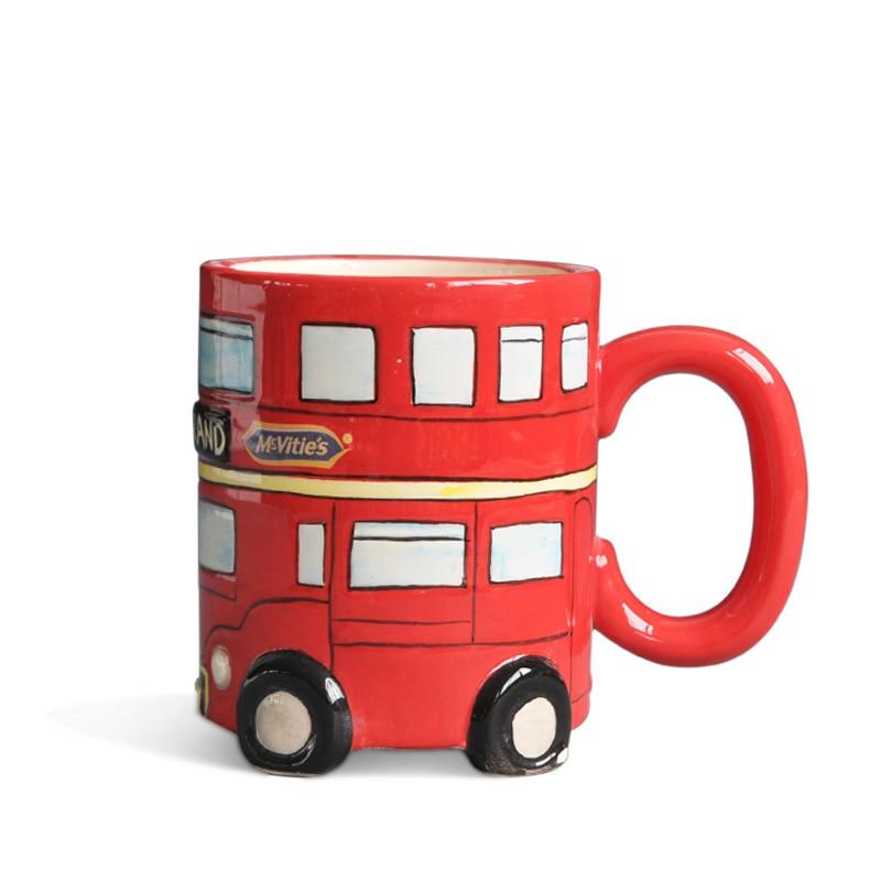Ceramic London Bus Coffee Mug Creative Water Milk Tea cup Breakfast Cups Best Gift Bread Biscuit Mugs
