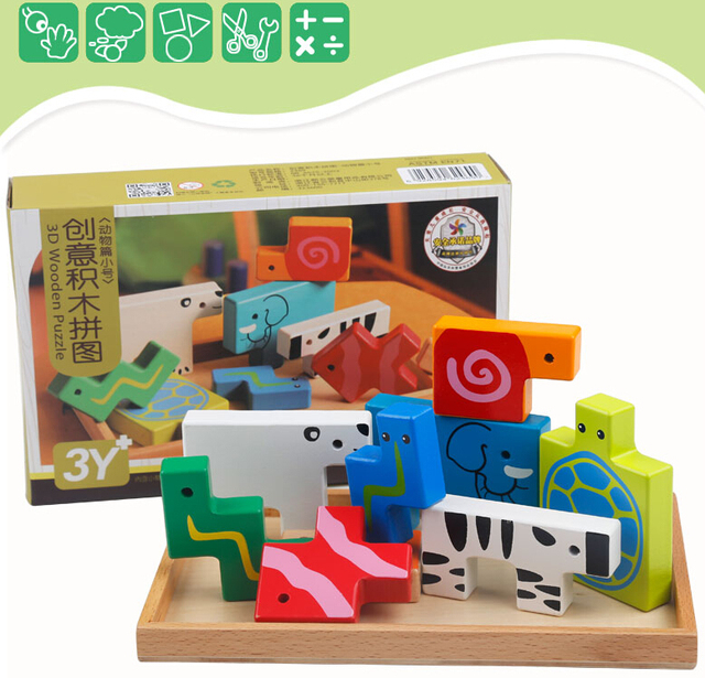 3D Baby wood puzzle child animal pattern wooden intelligence toy children creative Tetris birthday gift shape match game board