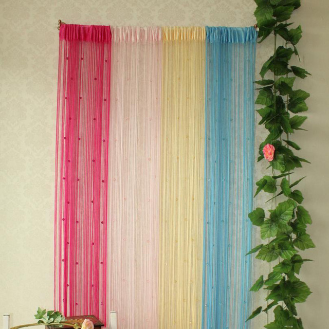 Tassel Curtain Crystal Beads Tassel Silk String Curtain Window Door Divider  Sheer Curtains Valance Door Windows