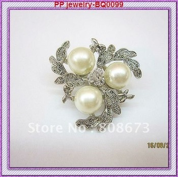 Wholesale (120pcs/lot)Silver plated Good quality crystal rhinestone pearl Pin brooches!!