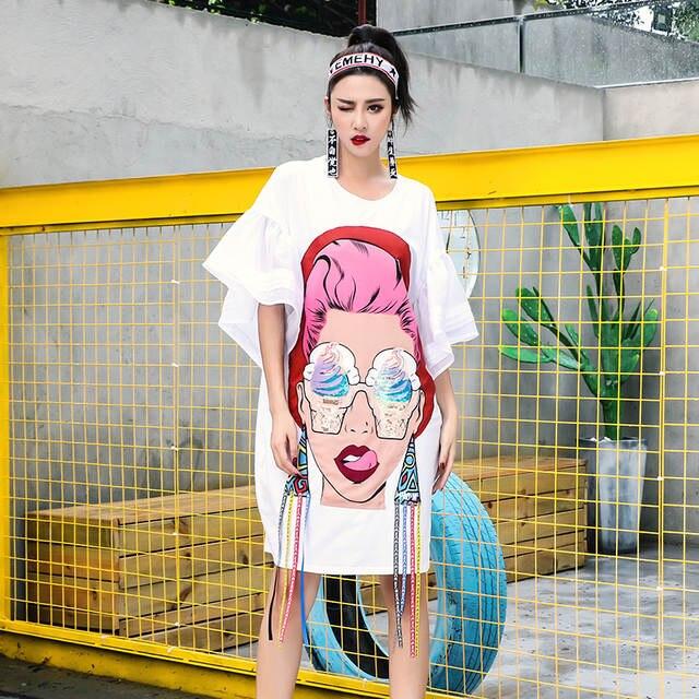 placeholder TREND-Setter 2018 Summer Fashion Punk Cartoon Girl T shirt Women  Ice cream Print Long 63cf49b1ff59