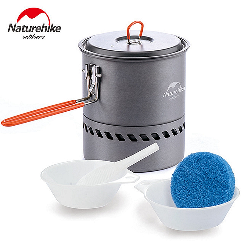 Naturehike 1.5L Heat Exchanger Camping Kettle Folding Soup Pot Picnic Cookware Outdoor Bowl and Spoon Lightweight 317g