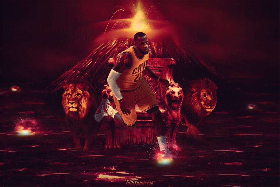 Custom Canvas Art King James Poster Lebron Sticker Cleveland Cavaliers Wall Stickers NBA Basketball Wallpaper Home Decor In From