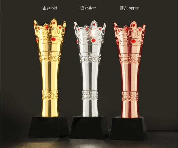 High Quality!New Resin Trophy, Gold Plated High-grade Crown Metal Trophy, Free Shipping