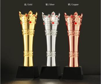 High quality!New Resin trophy, gold plated high-grade Crown metal Free shipping