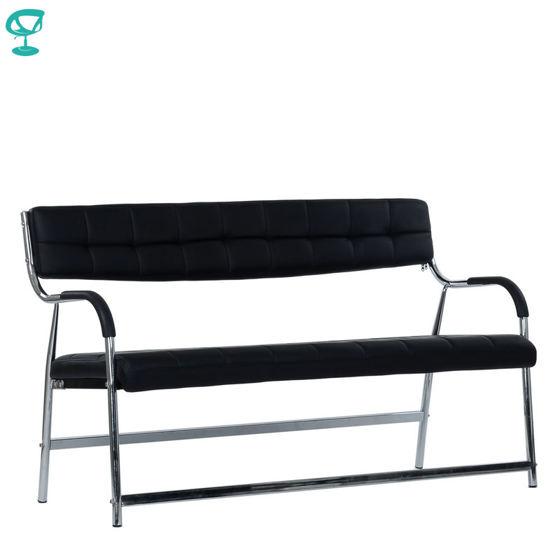 95455 Barneo K-13 Office Bench For Visitor 3 Persons Black Eco-leather Chrome Legs Chair Popular Model Free Shipping In Russia