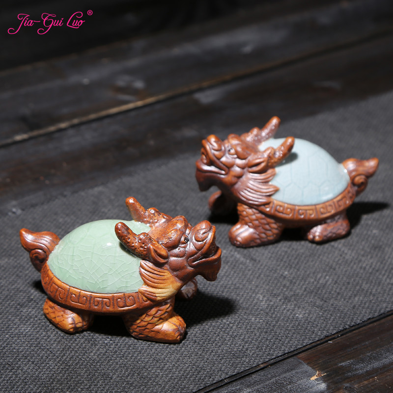 JIA-GUI LUO Purple Clay Dragon Tortoise Kung Fu Tea Set Accessories Purple Sand Tea Pet Decorations Tea Ceremony N012
