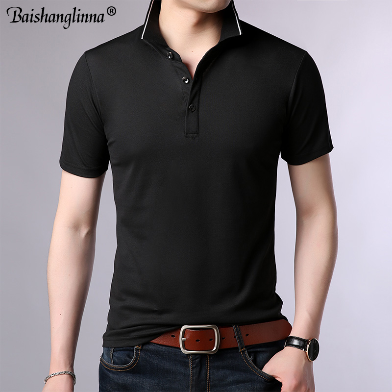 Baishanglin Brand clothing Men Polo Shirt Men Business Casual Solid Color Male Polo Shirt Short Sleeve High quality Pure Cotton 1