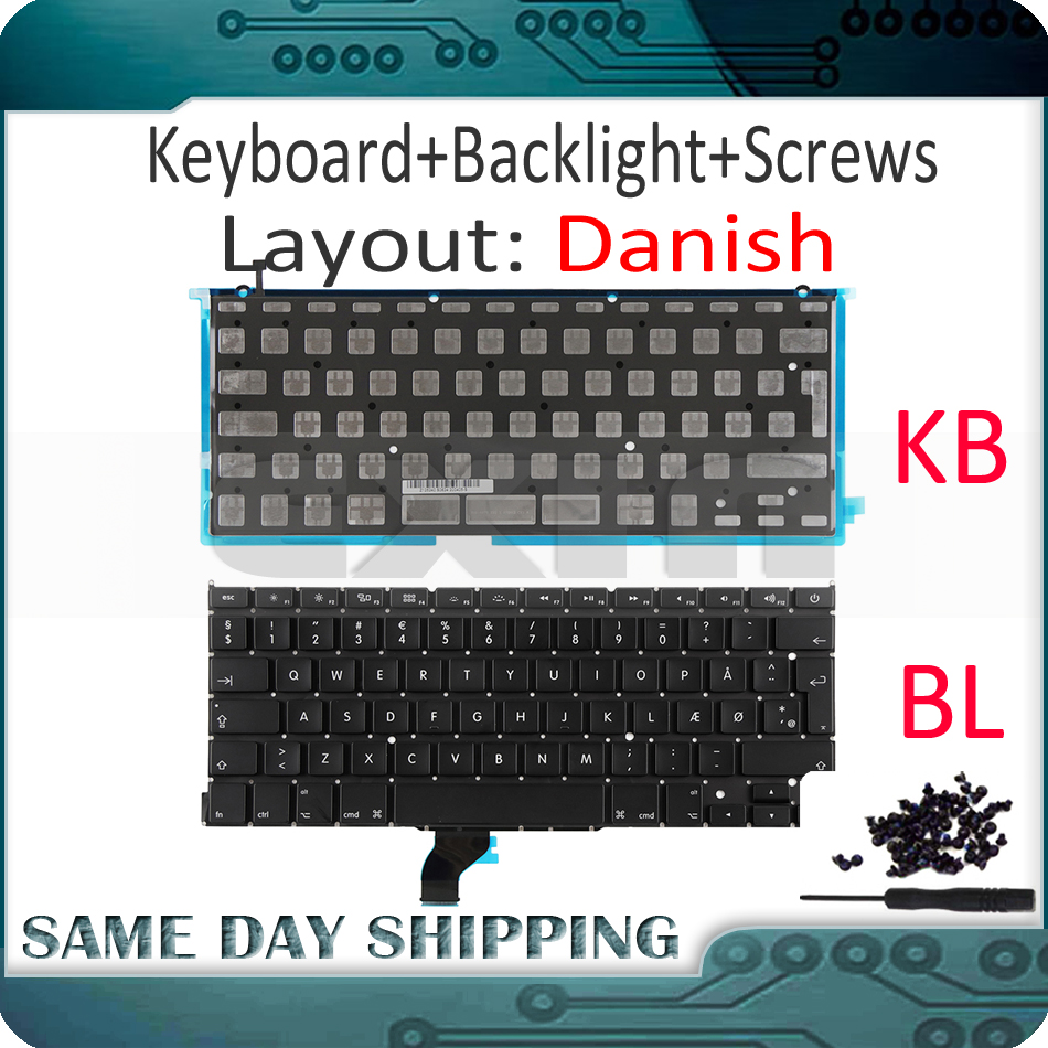 New for Macbook Pro Retina 13 A1502 Danish Keyboard Backlight+100Pcs Screws 2013 2014 2015 ME864 ME866 MGX72 MGX92 MF839 MF841 image