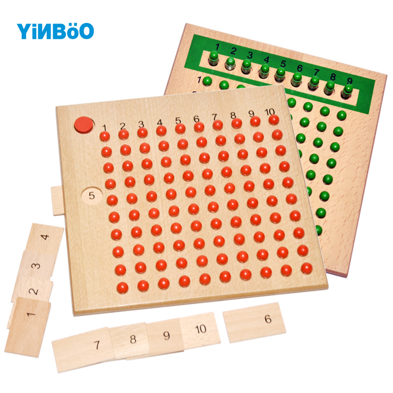 Montessori Educational Wooden Toy Multiplication and Division Bead Board for Early Childhood Preschool Training -Family Version